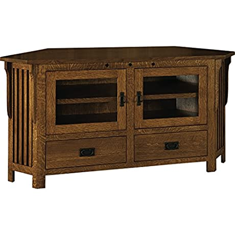 Amish Heirlooms Solid Oak Royal Mission 63 Width Corner TV Stand 18 75 X 63 X 33 Puritan Gray Finish