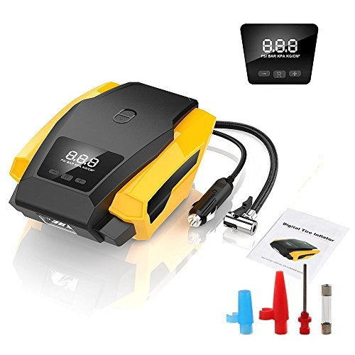 SEEYC Digital Tyre Inflator 12V 120W 150PSI Air Compressor Tyre Pump with Larger...
