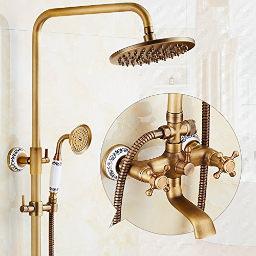 bluee and White Porcelain Seven Words X-shower All Copper Retro Shower Shower Faucet Set, Hot And Cold Copper Bronze Shower Shower Set,Seven Words And Seven Words For The Lantern