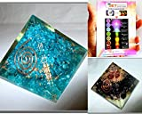 Exquisite Two (2) Feroza & Tourmaline Chakra Orgone Pyramid 1 each Best Offer Free Booklet Jet International Crystal Therapy Crystal Gemstones Copper Metal