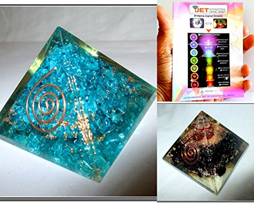 Exquisite Two (2) Feroza & Tourmaline Chakra Orgone Pyramid 1 each Best Offer Free Booklet Jet International Crystal Therapy Crystal Gemstones Copper Metal by Jet International