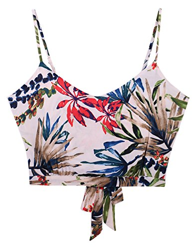 Sweetbei J Womens Summer V Neck Tie Back Casual Crop Cami Top Camisole 3-Multi Floral M