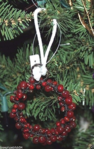 Pottery Barn Red Glass Pepperberry Mini Wreath Ornament Napkin Ring Tie on (Pottery Barn Red)