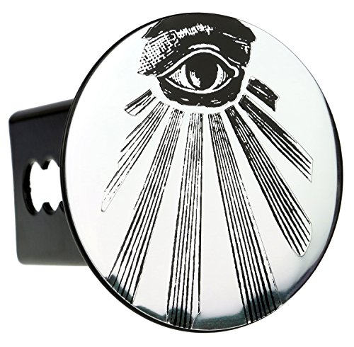 "Chrome Embossed Metal Chrome Emblem Metal Trailer Hitch Cover (Fits 2"" Receivers, Mason All Seeing Eye)"