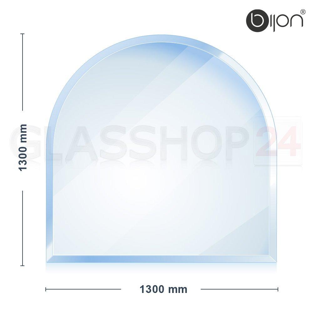 Glasshop24 bijon® - 8mm XXL Kamin Glasbodenplatte - Rundbogen 1300x1300x8mm -18mm Facette