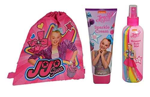 JoJo Siwa 3pcs Set One Reusable Drawstring Sling Bag, One Body Mist & One 4 fl oz Tube of berry sweet scent sparkle cream