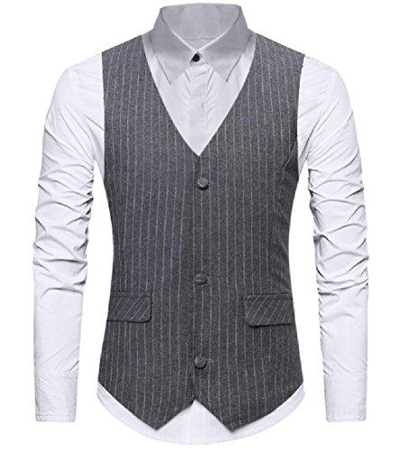 SportsX Men's Easy Care Large Size Striped Button Down Tuxedo Vest Grey S