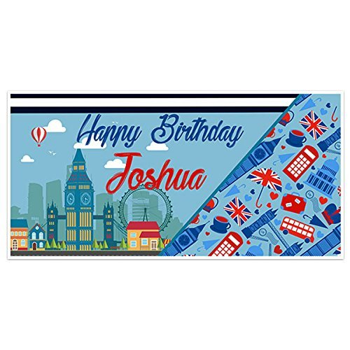 London Red Blue Birthday Banner Party Decoration Backdrop