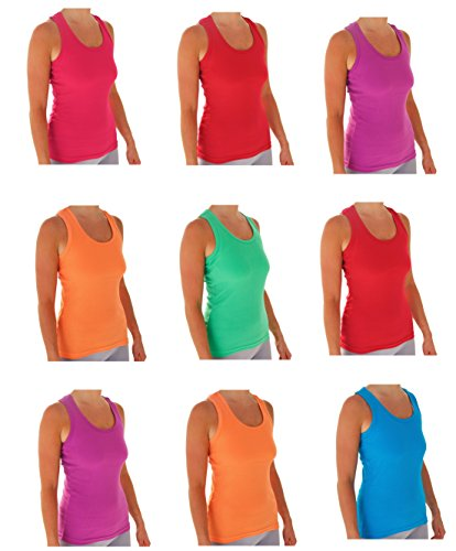 10 Tank Top Jersey (Tank Tops For Women, Ribbed Racerback Tank Top Assorted Colors -10 Pack (Small, AST 2))