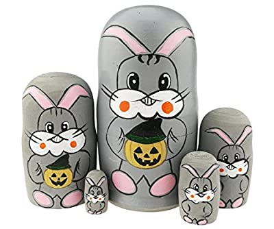 Winterworm Cute Grey Rabbit Holding Halloween Pumpkin Handmade Wooden Russian Nesting Dolls Matryoshka Dolls Set 5 Pieces For Kids Toy Birthday Easter Gift Decoration