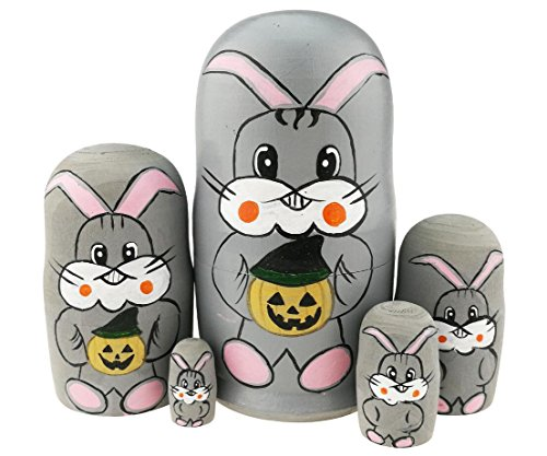Winterworm Cute Grey Rabbit Holding Halloween Pumpkin Handmade Wooden Russian Nesting Dolls Matryoshka Dolls Set 5 Pieces for Kids Toy Birthday Easter Gift -