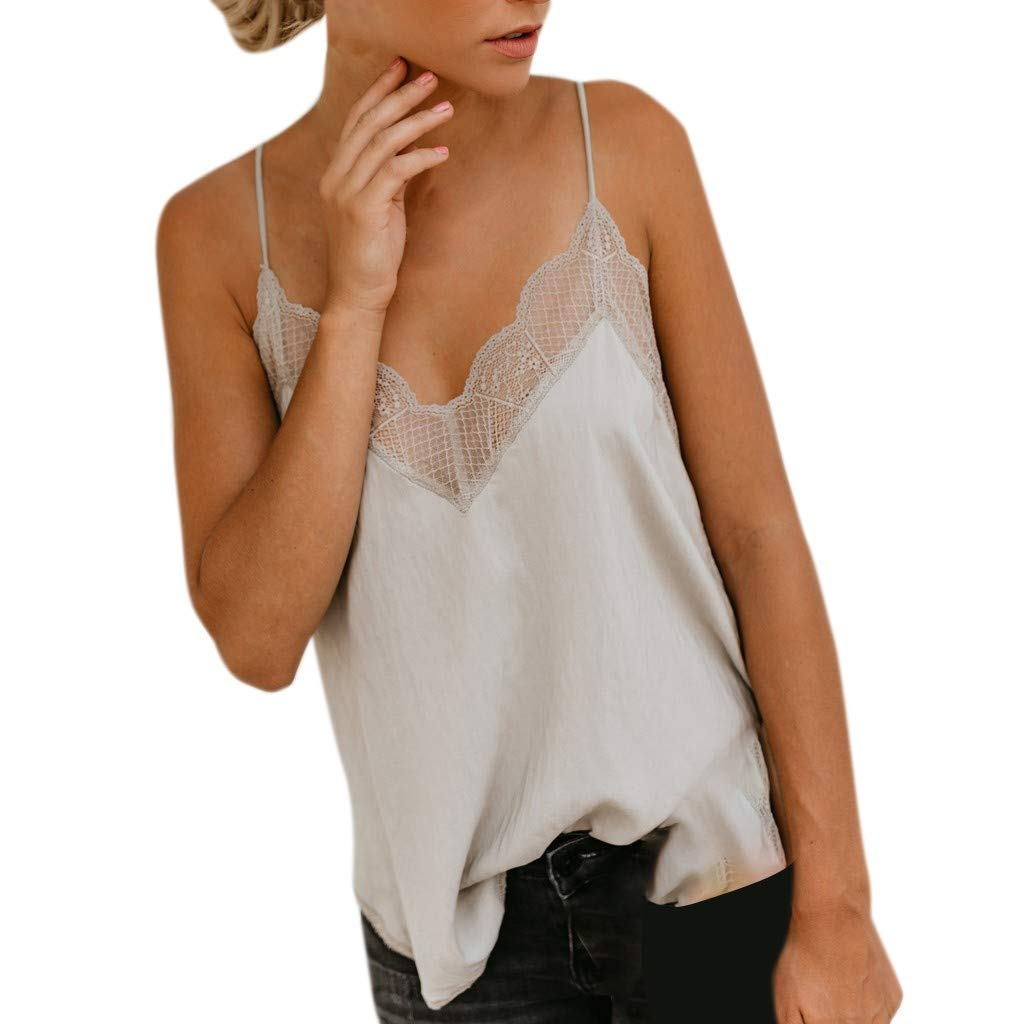 ✔ Hypothesis_X ☎ Sleeveless Lace Vest for Women,Loose V-Neck Camisole Casual Blouse Silk Satin Tops Camis Tops Beige