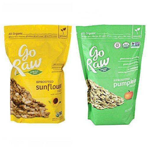 Go Raw Sprouted Seeds Bundle: (1) Pumpkin Seeds 16 (Ounce), (1) Sprouted Sunflower Seeds (16 Ounce) (Sprouted Sunflower Seeds Organic)