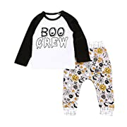 2Pcs/Set Clothes,WuyiMC Newborn Baby Girl Boy Halloween Patern Print Long Sleeve Tops Pant Outfits Tracksuit (0-6M/Tag 70, White)