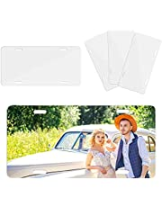 Color You 4Pcs Sublimation License Plate Blanks, Metal Aluminium Car Front License Plate, Heat Thermal Transfer Automotive Vanity Plate, Blank License Plates for DIY Personalize Design Work