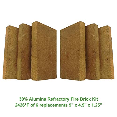 30% Alumina Refractory Fire Brick Kit 2426°F of 6 Replacements for stoves, fire pits and Pizza ovens 9