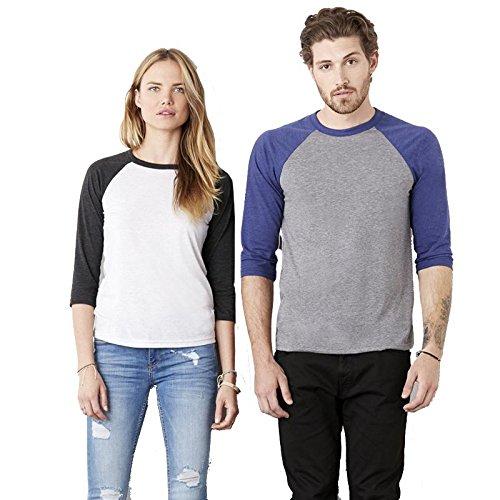 Bella+Canvas - Baseball T-Shirt mit 3/4 Ärmeln / Black/Deep Heather, XL