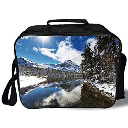 (Winter 3D Print Insulated Lunch Bag,Tranquil View of Glacier National Park in Montana Water Reflection Quiet Peaceful Decorative,for Work/School/Picnic,)