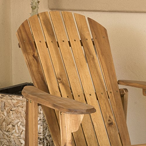 Christopher Knight Home 296698 Denise Austin Home Milan Brown Outdoor Folding Wood Adirondack Chair (Set of 2), Set of Two, Natural
