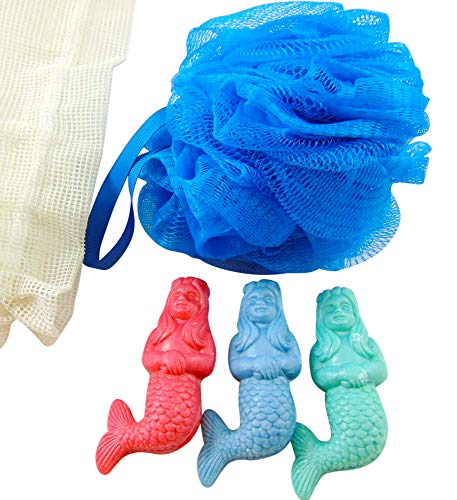 Lighthouses Bath (Mermaid Soap Bath Set with Pouf Sponge and Three Soaps in a Mesh Bag)