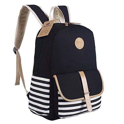BLUBOON Schulrucksäcke/Rucksack Damen/Mädchen Vintage Schule Rucksäcke mit Moderner Streifen für Teens Jungen Studenten (Schwarz)
