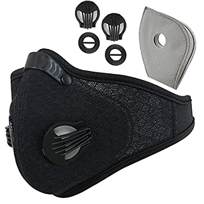 Activated Carbon Dustproof Dust Mask - with Extra Filter Cotton Sheet and Valves for Exhaust Gas, Anti Pollen Allergy, PM2.5, Running, Cycling, Outdoor Activities