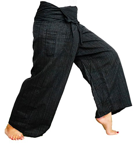 Mens Womens Stripe Cotton Capri Fisherman Wrap Pants Trousers Yoga Pants Thailand - Black