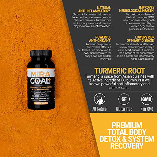 Miracoal Activated Charcoal Capsules for Detox - Turmeric Root for Inflammation | Vitamin B12 for Boosted Energy | Organic, Non GMO and Gluten by Miracoal (Image #6)