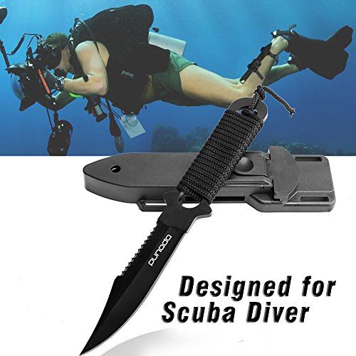 Scuba Diving Knife with Leg Straps 2 Pairs, Black Tactical Knife with 2 Types Sheath, Stainless Steel Diving Knife for Scuba Diving, Spearfishing, Snorkeling, Hiking, Outdoor Use