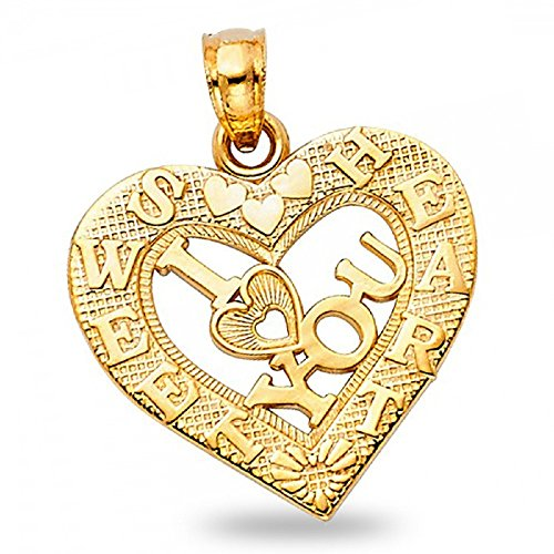 Sweetheart I Love You Pendant Solid 14k Yellow Gold Heart Charm Polished Fancy Design 17 x 19 mm