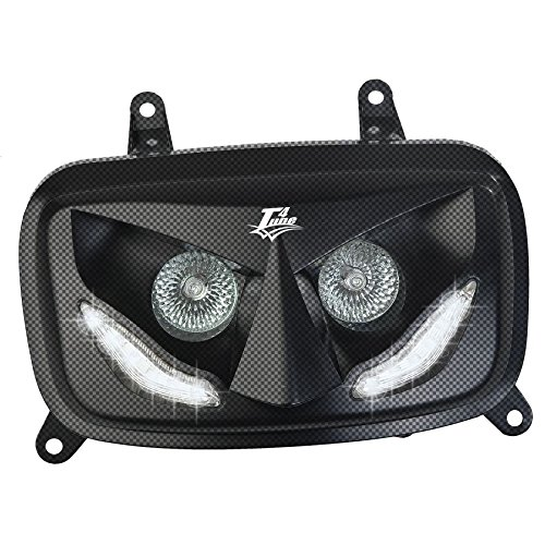 T4TUNE 400434 PLAQUE PHAREBOOSTER 04 CARBON AVEC LEDS BLANC MBK BOOSTER 50 2004-50 2004//2016 YAMAHA BWS 50 2004-50 2004//2016