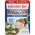 BUMBLE BEE Premium Albacore Tuna in Water, Tuna Fish, High Protein Food, Keto Food and Snacks, Gluten Free Food, High Protein Snacks, Canned Food, Bulk Tuna, 2.5 Ounce Pouches (Pack of 12)