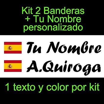 Vinilin Pegatina Vinilo Bandera España con Escudo + tu Nombre - Bici, Casco, Pala De Padel, Monopatin, Coche, Moto, etc. Kit de Dos Vinilos (Negro)