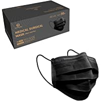 50 Pieces 3 Layer Black Reusable Facemask Disposable Breathable Face Masks with Elastic Earloop Masks Nose Mouth Cover