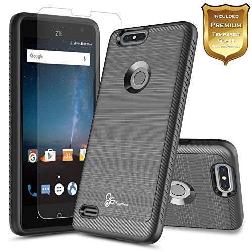 ZTE Blade X Case (Cricket) with [Tempered Glass Screen Protector], NageBee [Carbon Fiber Brushed] Defender [Dual Layer] Protector Hybrid Case For ZTE Blade X Z965 (Cricket Wireless) (Black)