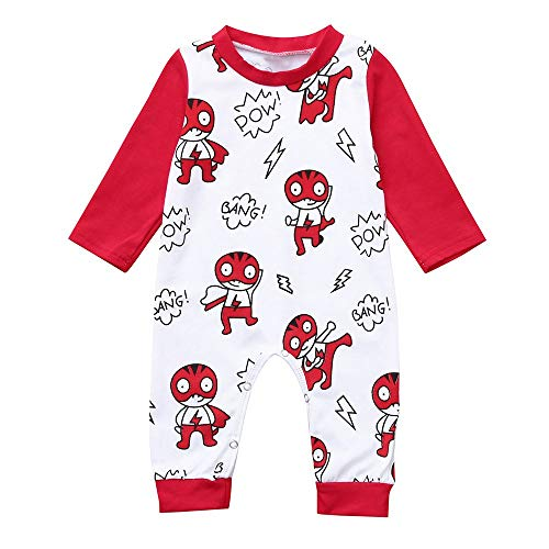 Tronet Winter Baby Romper, Newborn Baby Cartoon Hedgehog Romper Jumpsuit Long Sleeved Clothes (6-12 Months, Red) -