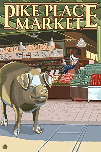 Seattle, Washington - Pike Place Market Fish Toss and Pig (12x18 Art Print, Wall Decor Travel Poster) ()