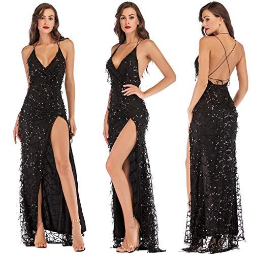 XXYsm Damen Kleid Retro 1920er Abendkleider Cocktailkleid rückenfrei V-Ausschnitt Maxi Party Kleider Pailletten
