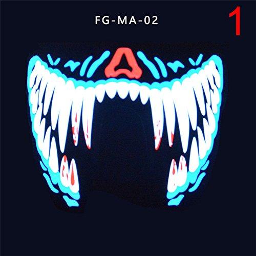 GS-C LED Luminous Flashing Face Mask Party Masks Light Up Dance Halloween (Dance Party Halloween)