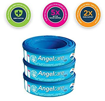 3 X Angelcare Nappy Disposal System Refill Cassettes Wrappers Bag Sacks Bin Pack