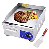 Yescom 1500W 14'' Electric Countertop Griddle Stainless steel Adjustable Temp Control Commercial Restaurant Grill