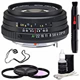 Pentax SMCP-FA 43mm f/1.9 Limited Series Autofocus Lens (Black) + 3 Piece Filter Kit + Deluxe 3pc Lens Cleaning Kit + Lens Pen Cleaner + Lens Cap Keeper 6AVE Bundle