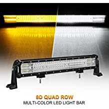 LED Light Bar, Rigidhorse 4 Row 20inch 468w Multi-Color Light Bar Spot light & Flood light Combo Off Road Light with Mounting Brackets Set, For Jeep/ATV/SUV/UTV
