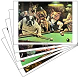 """Dogs Playing Pool"" Prints (Set of All Five)"