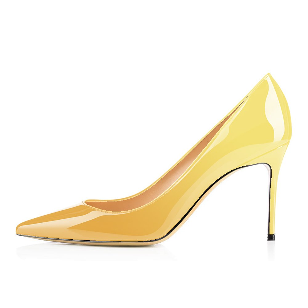 Modemoven Women's Yellow Pointed Toe Pumps Slip-on Office Business High Heels Sexy Stiletto Shoes 10 M US by Modemoven (Image #2)