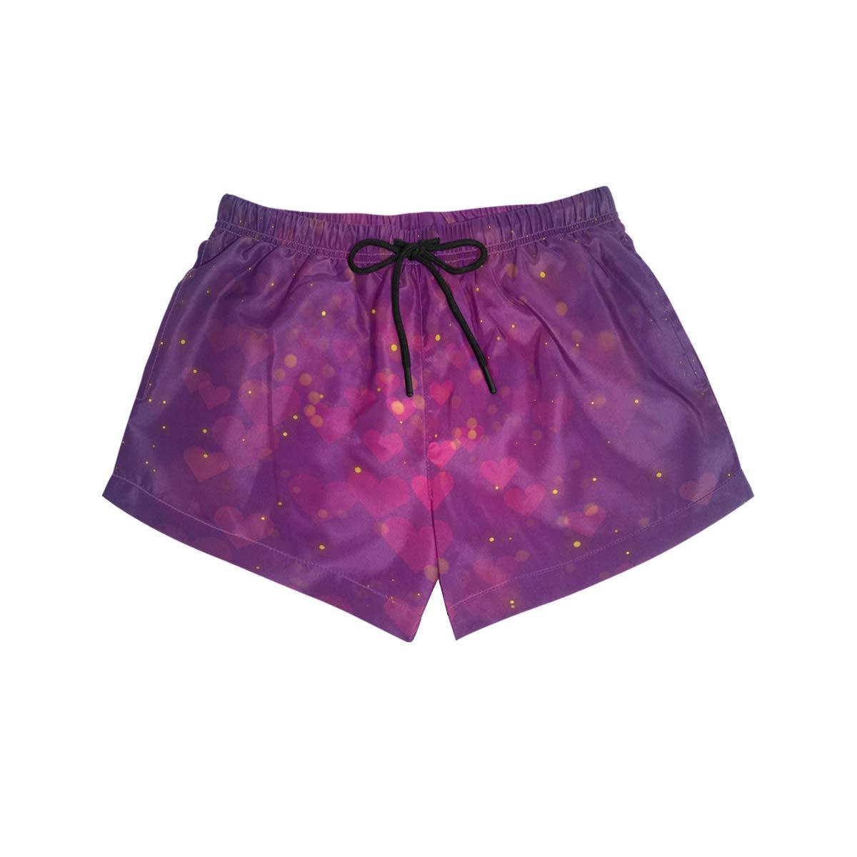 Women Swim Trunks Purple Rosy Heart Pattern Love Lighting Beach Board Shorts