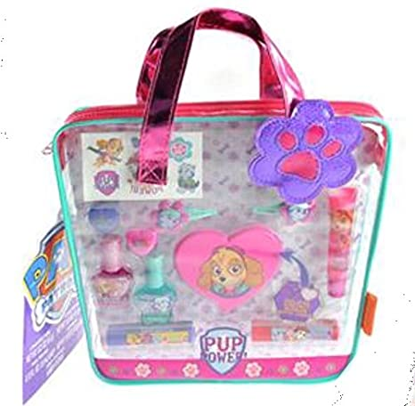 5732d4c144 Paw Patrol Complete Over 15 Pieces Cosmetic Gift Set in Reusable  Transparent Tote Bag for Girls