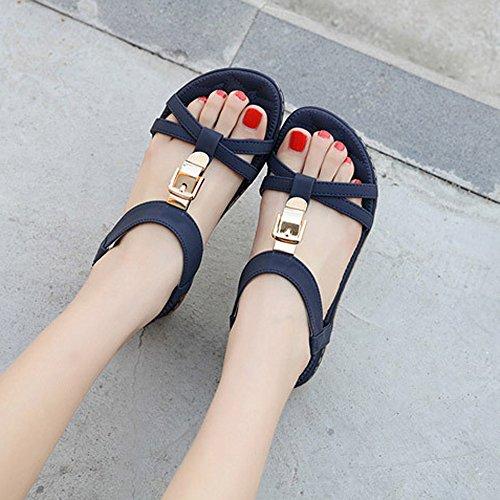 para o Fiesta de Plano Mujer Playa Azul Vestir Verano de QinMM de Zapatos Ba y Casual Sandalias Chanclas 6v7nX