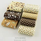 BEESCLOVER F031# 7pcs 100% Cotton Fabric Strips Coffee Sets Jerry Roll DIY Quilting Fabric for Patchwork Crafts Fabric Textile 5cmx100cm as Picture Show