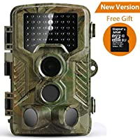 Trail Camera, Coolife Wildlife Camera Hunting Game Camera with Night Vision, 16MP 1080P HD Infrared Sensor Waterproof Deer Camera Surveillance Scouting(32G SD Card Included)